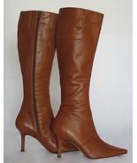 $440 AUTH Isaac Mizrahi cognac leather knee-hig... - $94.95