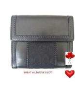 Coach Signature Black Leather Bifold Wallet St... - $89.99