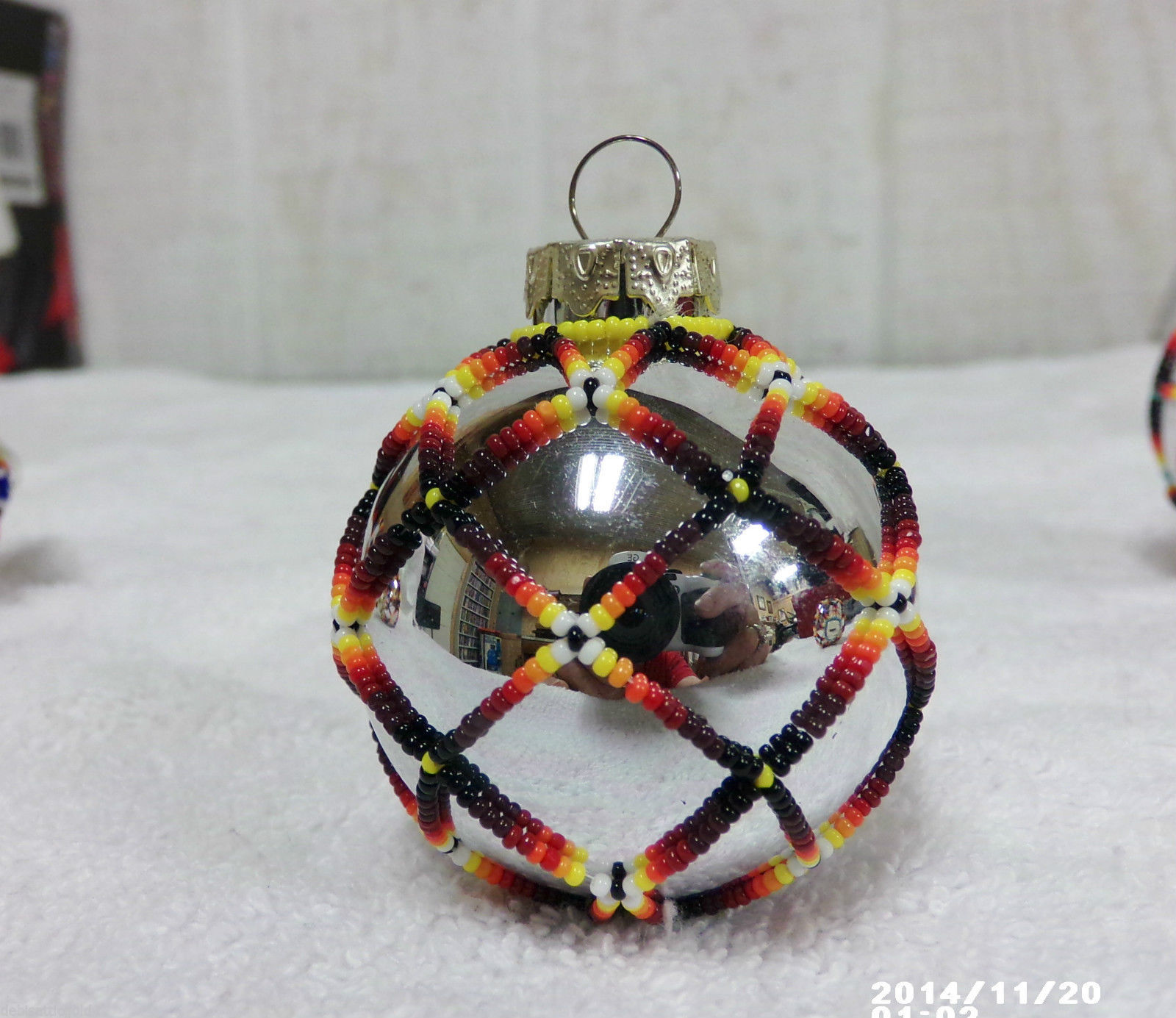 Native american handmade beaded christmas tree ornament for Holiday christmas ornaments