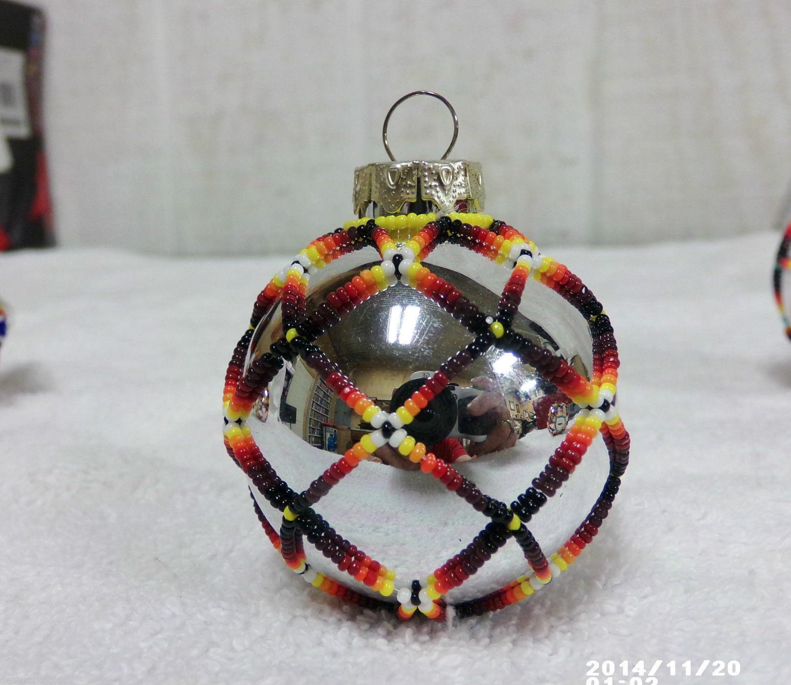 Native American Handmade Beaded Christmas Tree Ornament Holiday Ball Kiowa Color