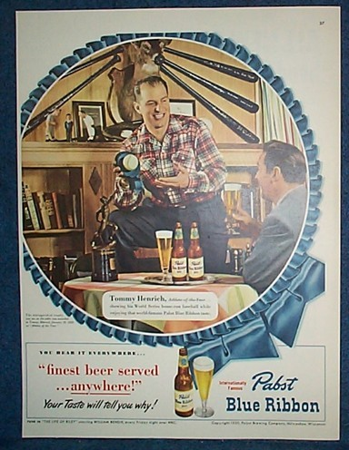 1950 New York Yankees Tommy Henrich Pabst Beer Ad Uncommon V