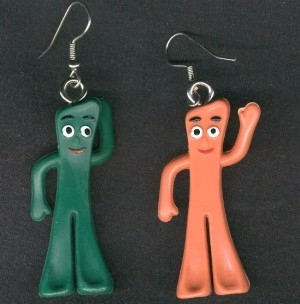 GUMBY & ANTI-GUMBY EARRINGS-Vintage Punk Toy Mini-Figure Jewelry