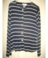Coldwater Creek Cardigan Jacket S Blue & W Trav... - $16.81