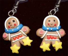 GINGERBREAD MAN STAR EARRINGS-Holiday Cookie Food Funky Jewelry
