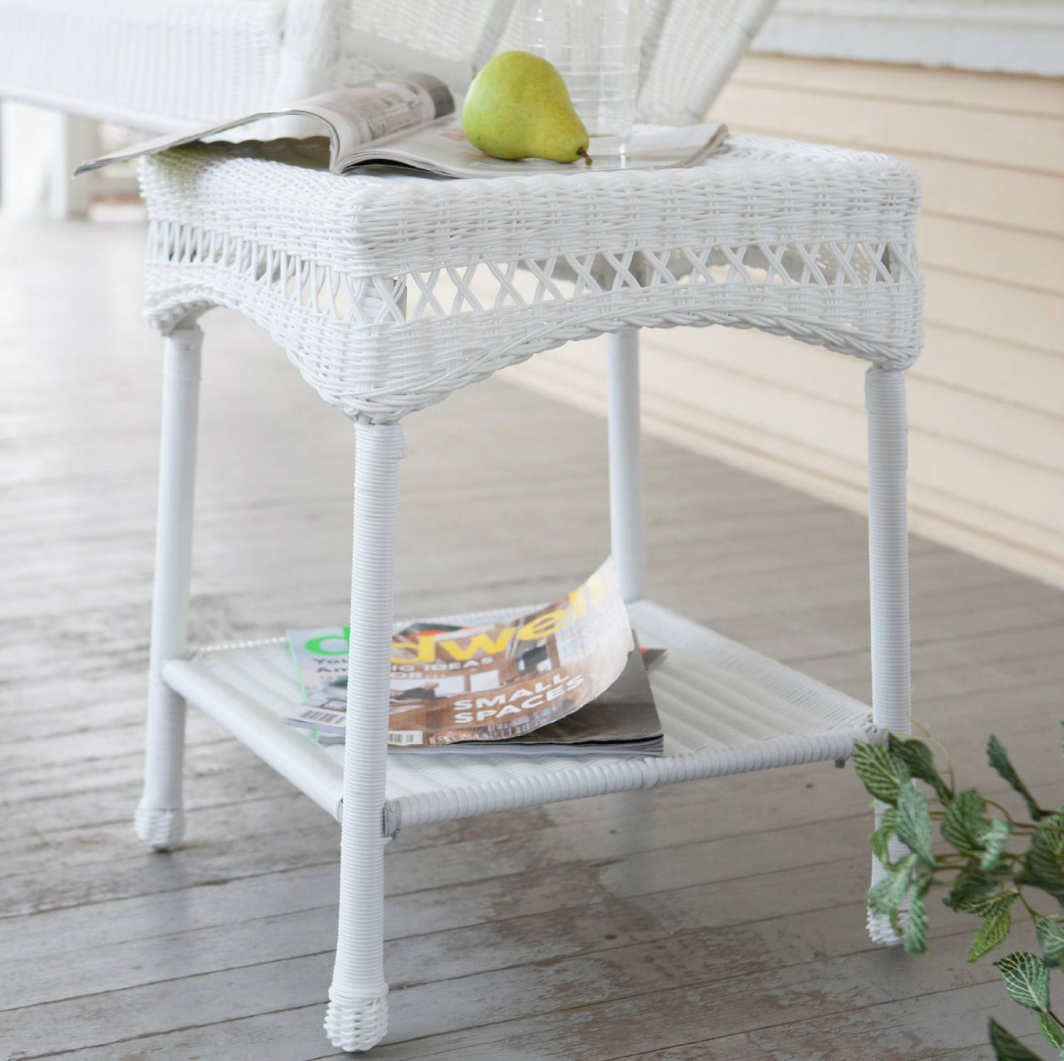 outdoor furniture resin wicker patio porch side table bottom shelf