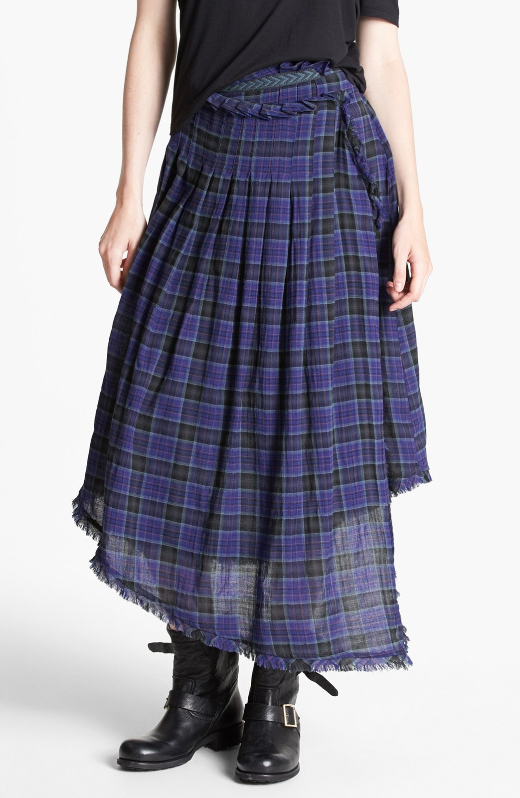 Free People Blue Tartan Plaid Faux Wrap Skirt XS - Skirts
