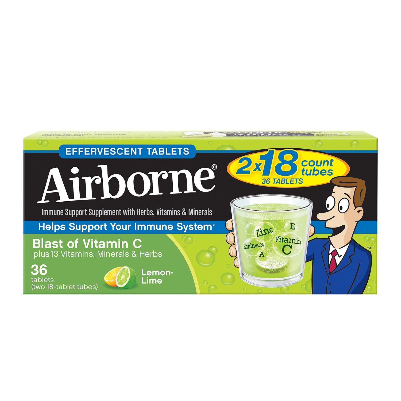 Airborne Effervescent Tablets Lemon Lime 36 Ct Other