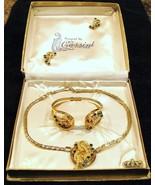 Oleg Cassini Green Rhinestone Necklace Bracele... - $20.00