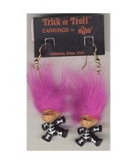 Russ Retro-TROLL DOLL SKELETON EARRINGS-Halloween Funky Costume Jewelry-PURPLE - $12.97