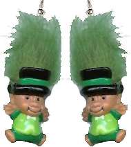 LEPRECHAUN TROLL EARRINGS-Lucky Charm Gnome Funky Jewelry-DK GRN