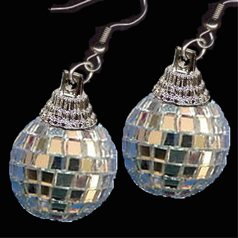 DISCO BALL EARRINGS-MIRROR Party DJ Funky Novelty Jewelry-FANCY