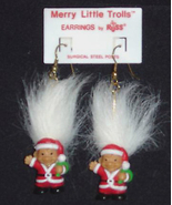 Russ Retro-Merry Little SANTA TROLL EARRINGS-Holiday Funky Novelty Jewelry-WHITE - $12.97