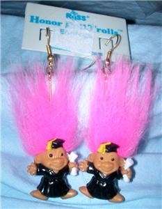 HONOR ROLL TROLL EARRINGS-Teacher Graduation Novelty Jewelry-PNK