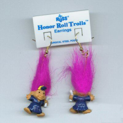 HONOR ROLL TROLL EARRINGS-Teacher Graduation Novelty Jewelry-MAG