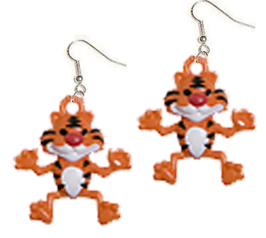 TIGER EARRINGS-TONY Cartoon Safari Animal Funky Novelty  Jewelry