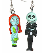 JACK SKELLINGTON & SALLY EARRINGS-Funky Novelty Gothic Jewelry-B - $10.97
