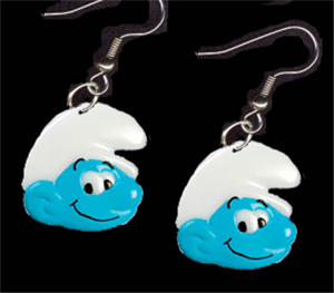 SMURF EARRINGS-Funky Novelty Cartoon Character Costume Jewelry