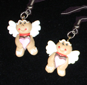 GINGERBREAD EARRINGS-ANGEL-Holiday Cookies Food Novelty Jewelry