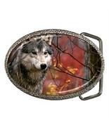 MAJESTIC GRAY WOLF BELT BUCKLE CHROME FINISH - $8.00