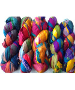 10 Skein Multicolored Silk Ribbons Recycled cra... - $33.29