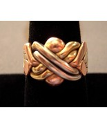 14k Gold Puzzle Ring 6 Band Tri Color Gold 10.2... - $550.00