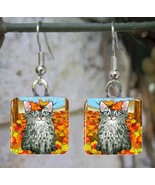 Handmade Glass Earrings square 20mm Cat 441 fal... - $12.00
