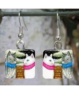 Handmade Glass Earrings square 20mm Cat 443 win... - $12.00