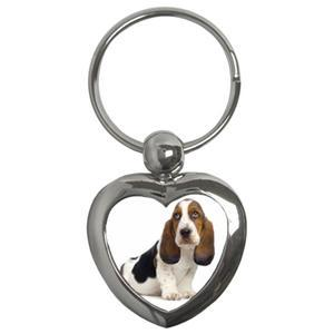 BASSET HOUND DOG PUPPY PUPPIES PHOTO KEYRING KEYCHAIN