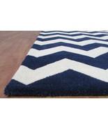 Chevron Zig Zag Navy Blue 8' x 10' Handmade Tra... - $381.65