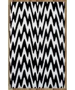 ZIG ZAG BLACK AND WHITE 5X8 HANDMADE PERSIAN ST... - $211.65