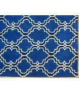 FRENCH ACCENT SCROLL TILE INDIGO 5X8 HANDMADE P... - $211.65