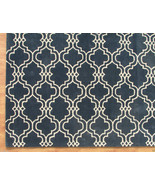 Moroccan Scroll Tile Carbon Blue 4' x 6' Handma... - $209.00
