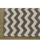 Chevron Zig Zag Gray 4' x 6' Handmade Persian S... - $169.15