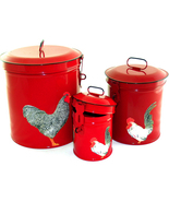 Red Canister Set, Rooster Kitchen Storage Canis... - $31.95