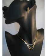 Bridal Austrian Crystal Goldtone Necklace And E... - $22.00
