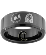 8mm Black Tungsten Carbide Band Beveled Jack an... - $49.00