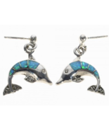 Navajo Inlaid Opal Dolphin Post Dangle Earrings  - $98.97