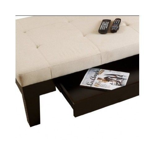 Ivory Natural Fabric Uphlostered Tufted Storage Ottoman W Storage Coffee Table Ottomans