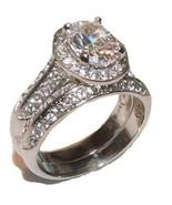 Women's 2 Piece Halo Cz Wedding Band Ring Set S... - $22.99