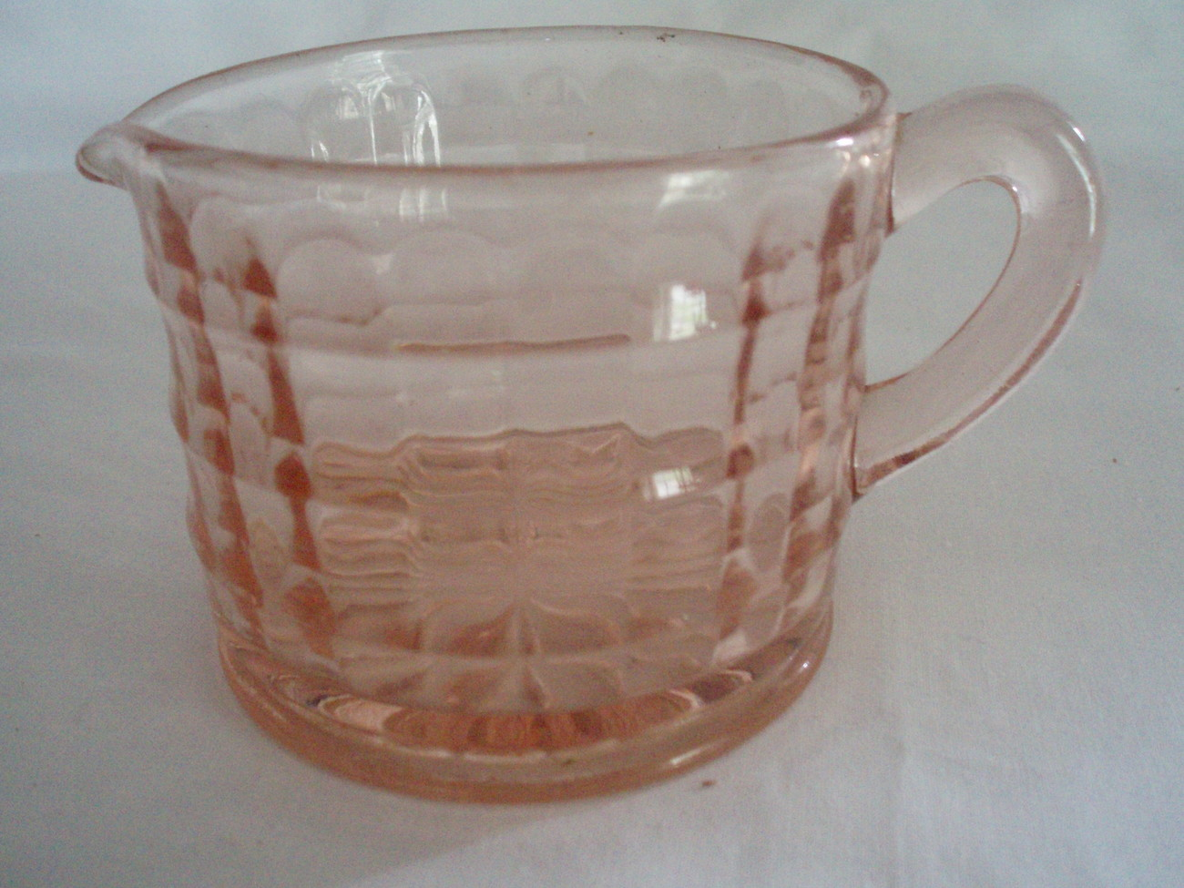 Anchor Hocking Pink Depression Glass Creamer Block Optic VTG