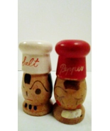 Wooden Salt and Pepper Shakers, White Hat Chef,... - $19.99