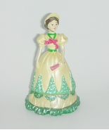 Trinket Box Victorian Lady Yellow and Green - $5.00