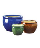 Embossed earthenware flower pot trio - $23.00