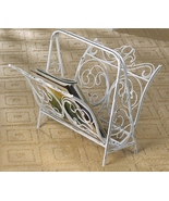 MAGAZINE RACK White Wrought iron flourishes dis... - $44.95