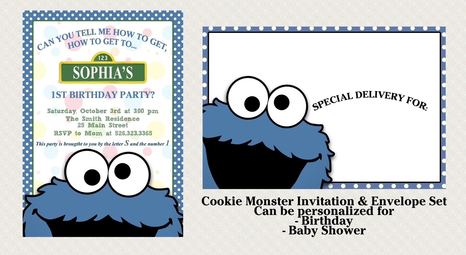 Cookie Monster Invitation Set Matching Envelopes