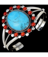 Glowing Turquoise Navajo Cuff Bracelet With Cor... - $415.57