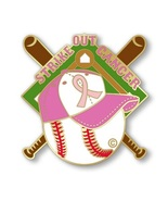 Pink Ribbon Baseball Pin Strike Out Cancer Brea... - $10.97