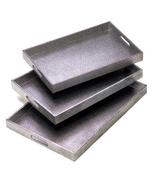 NESTING TRAYS silver-tone Wood 3 sizes embossed... - $33.29