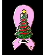 Pink Ribbon Pin Christmas Tree Breast Cancer Aw... - $11.97