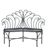 Garden Bench Peacock style iron scalloped seat - $119.79